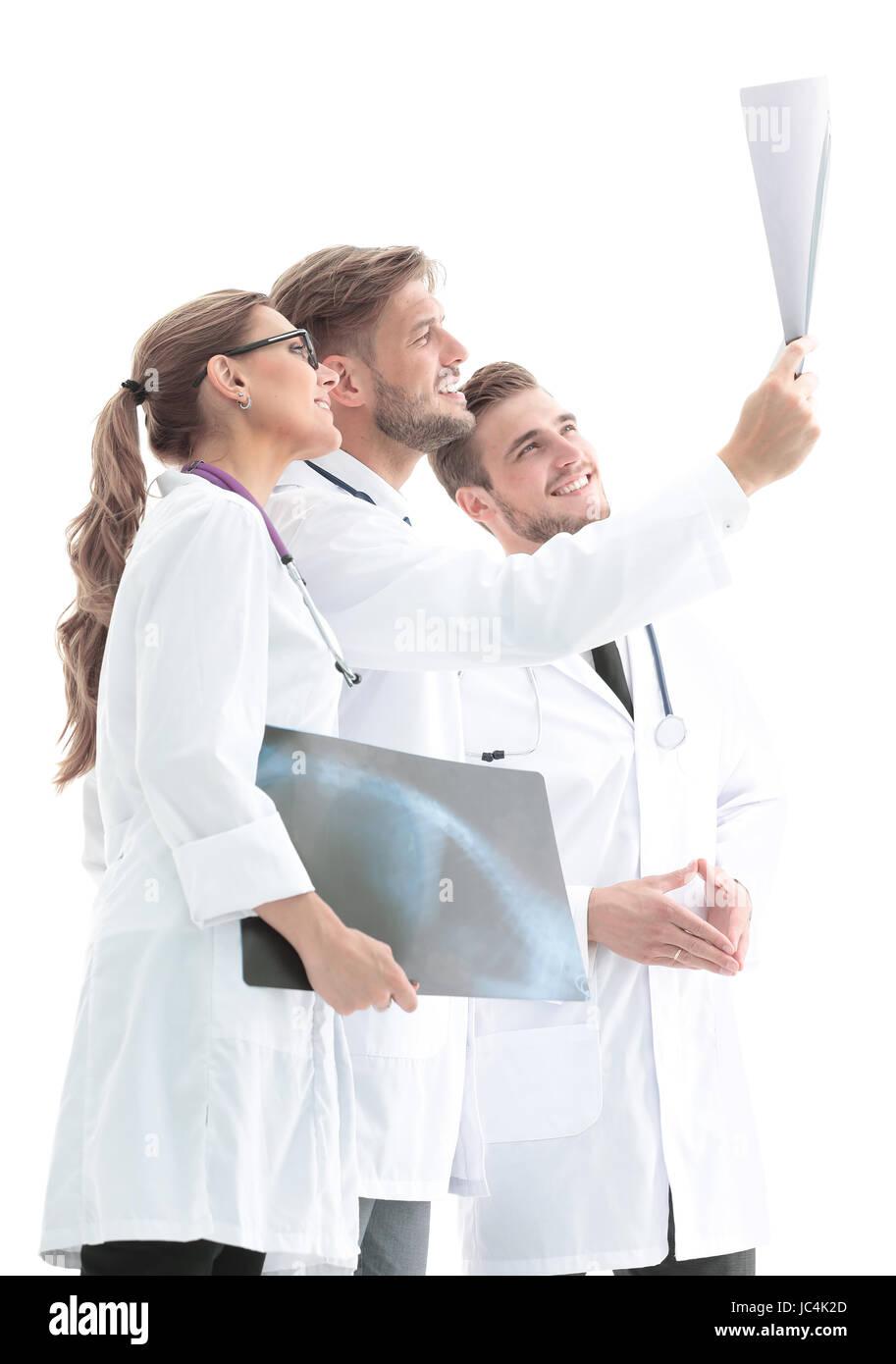 Il team di professionisti medici lavorano presso l'ufficio medico. Immagini Stock