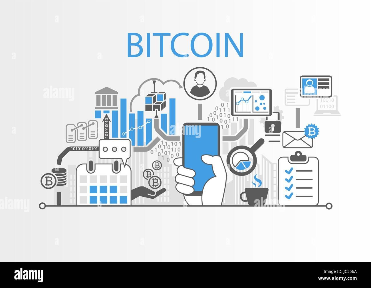 Bitcoin vettore illustrazione dello sfondo con la mano che regge lo smartphone e icone Illustrazione Vettoriale