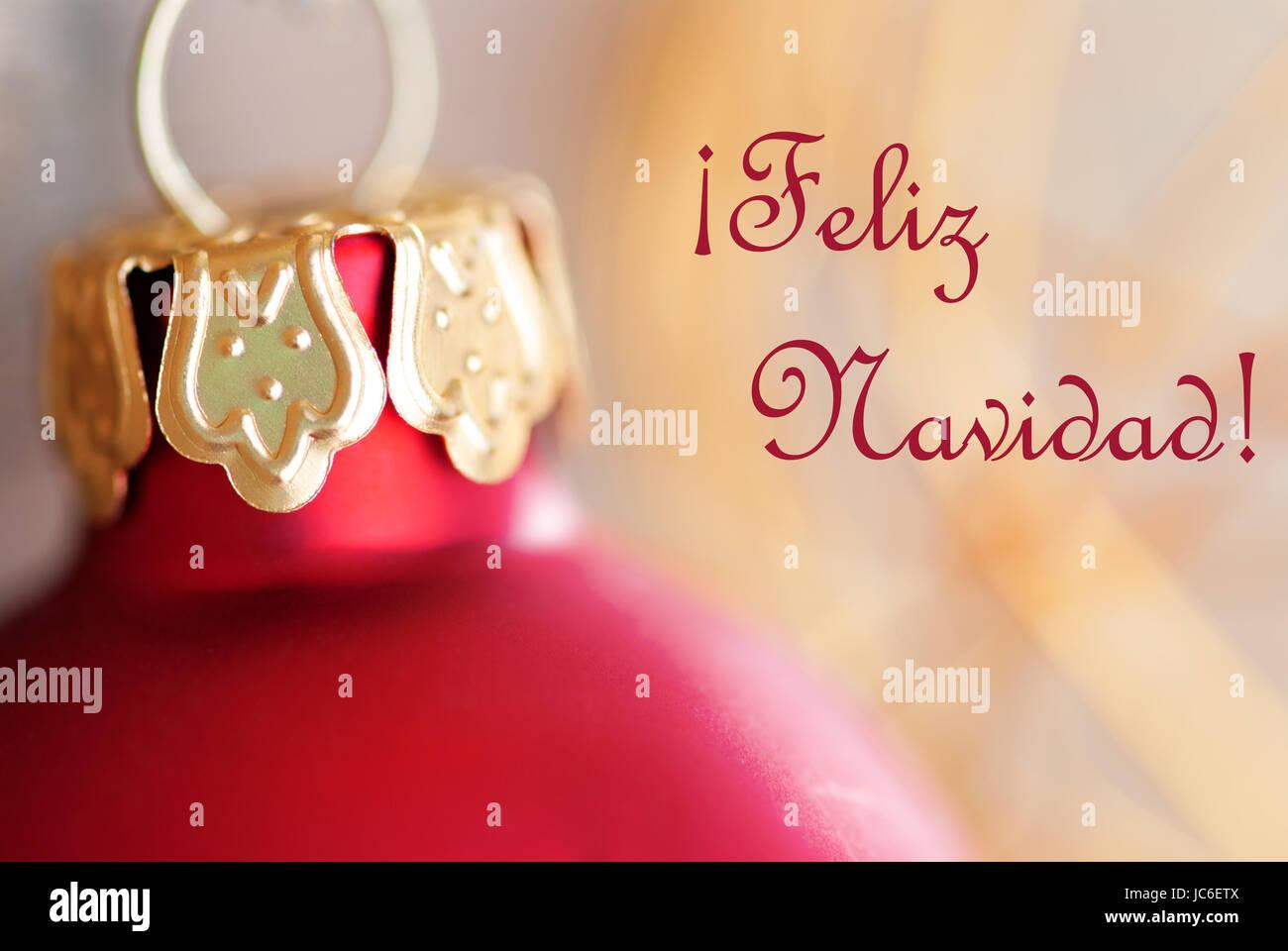Buon Natale Que Significa.Red Palla Di Natale Decorazione Con Parole Spagnole Feliz Navidad