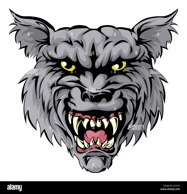 Una illustrazione di un lupo feroce animale o personaggio mascotte sportive  Immagini Stock 84450cc0f33d
