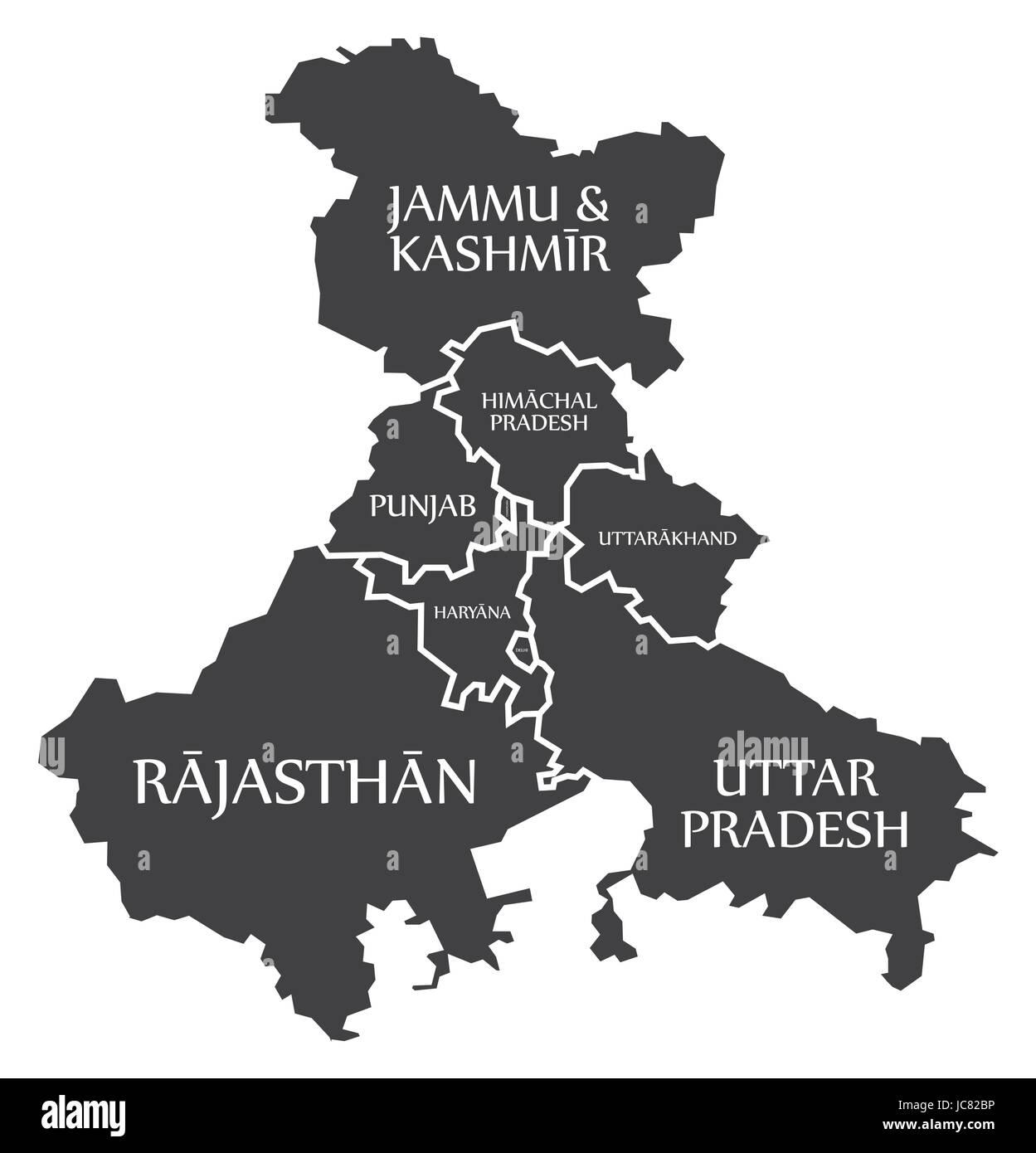 Cartina Dell India Del Nord.Gli Stati Del Nord Dell India Mappa Immagine Immagine E Vettoriale Alamy