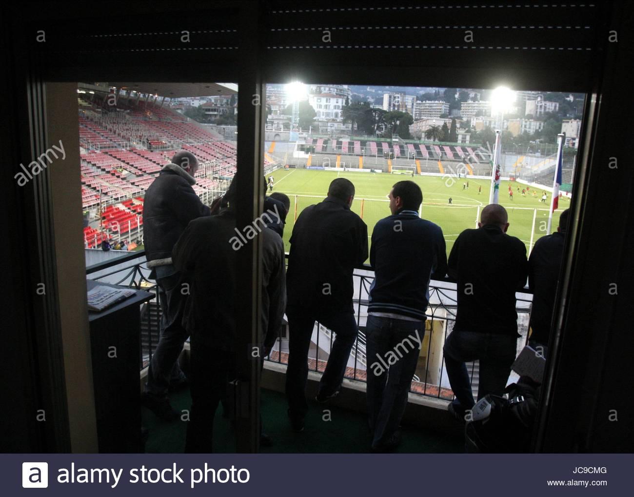 Partita giocata dietro chiusa DOO NICE V PSG NIZZA Francia 20 Marzo 2010 Immagini Stock