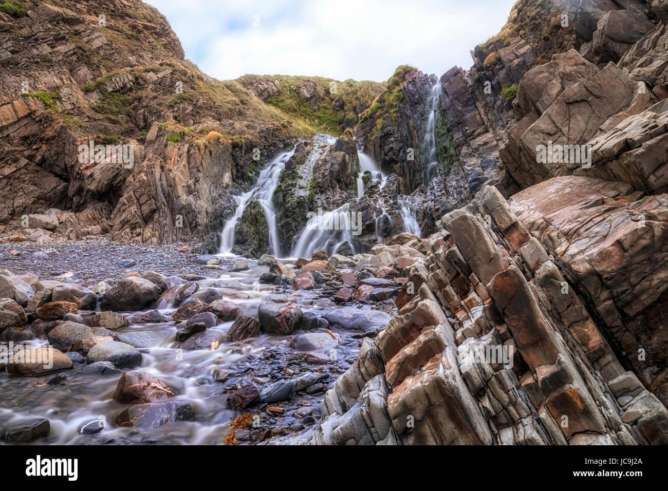 Bocca Welcombe Beach, North Devon, Inghilterra, Regno Unito Immagini Stock