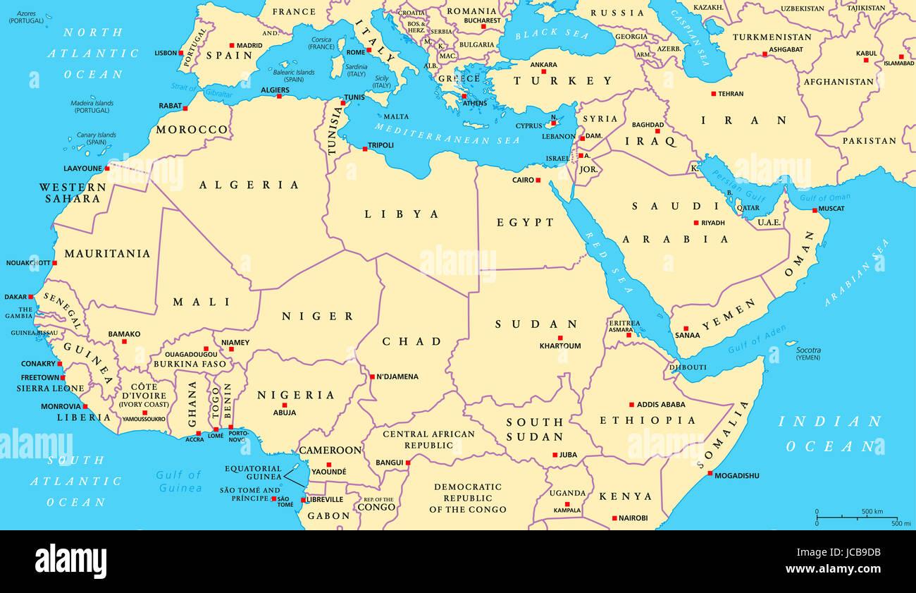 Cartina Geografica Nord Africa.Africa Del Nord E Medio Oriente Mappa Politico Con La Maggior