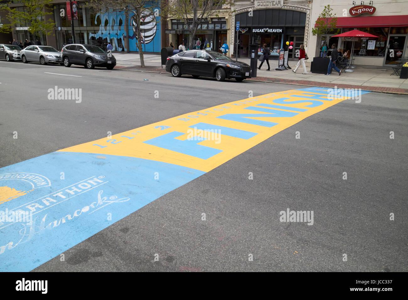 Maratona di Boston traguardo Boylston Street USA Immagini Stock