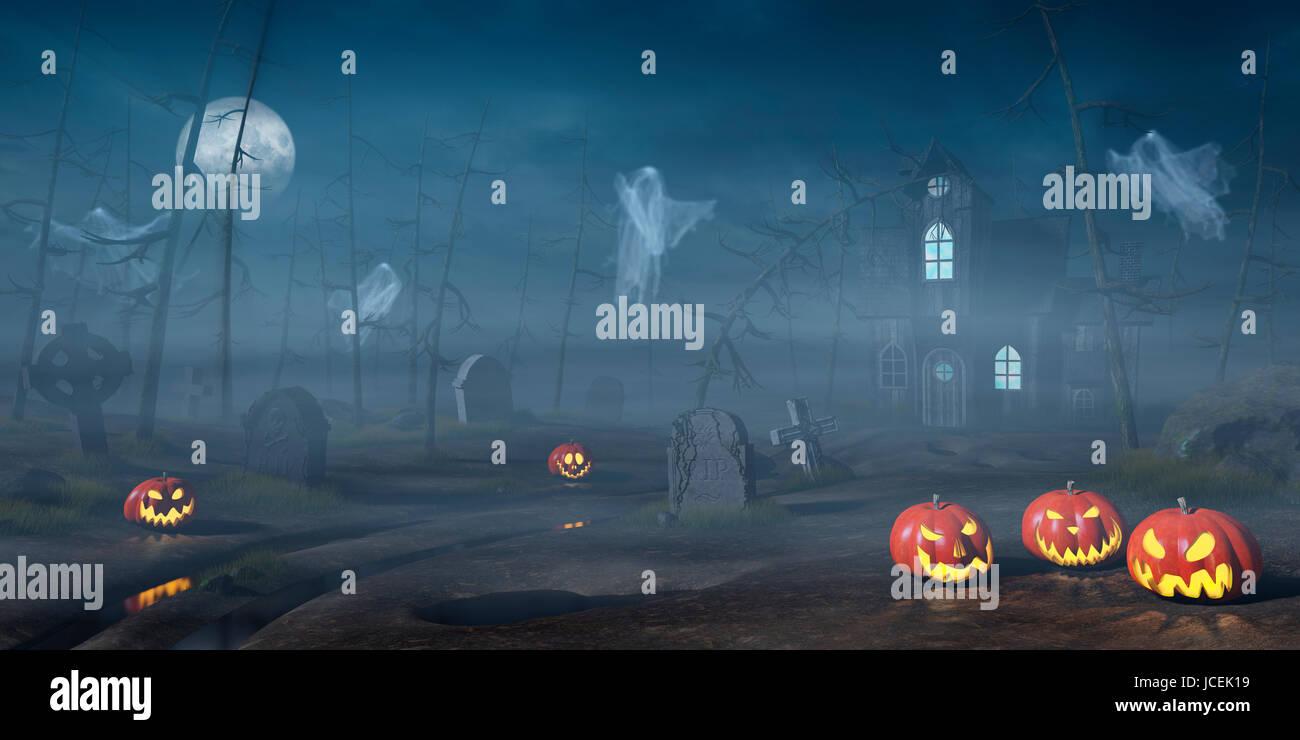Una cabina in un losco e nebbiosa foresta di Halloween di notte con Jack O'lanterne e fantasmi. Immagini Stock