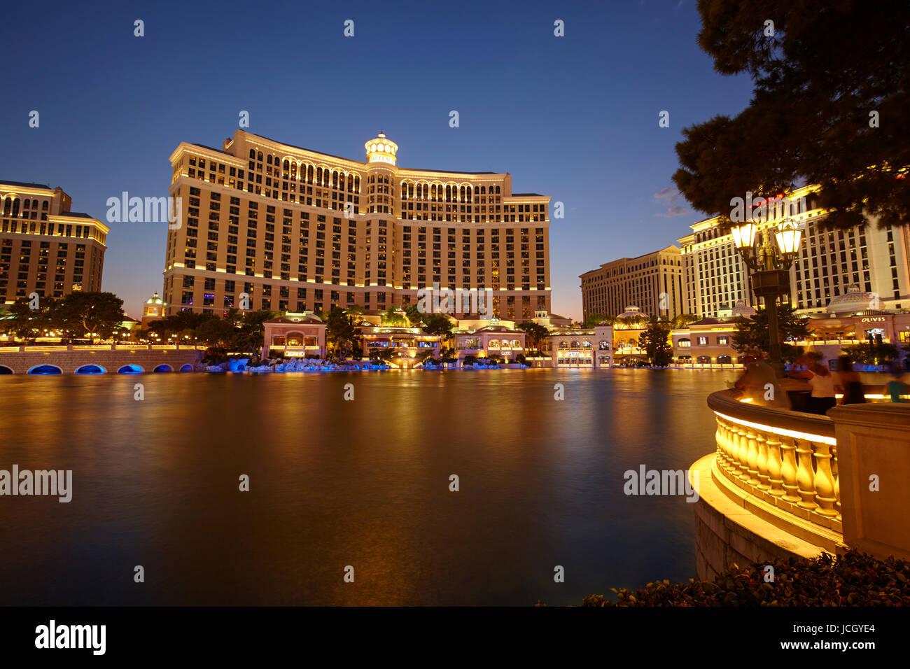 Bellagio hotel di notte, Las Vegas, Nevada, Stati Uniti Immagini Stock
