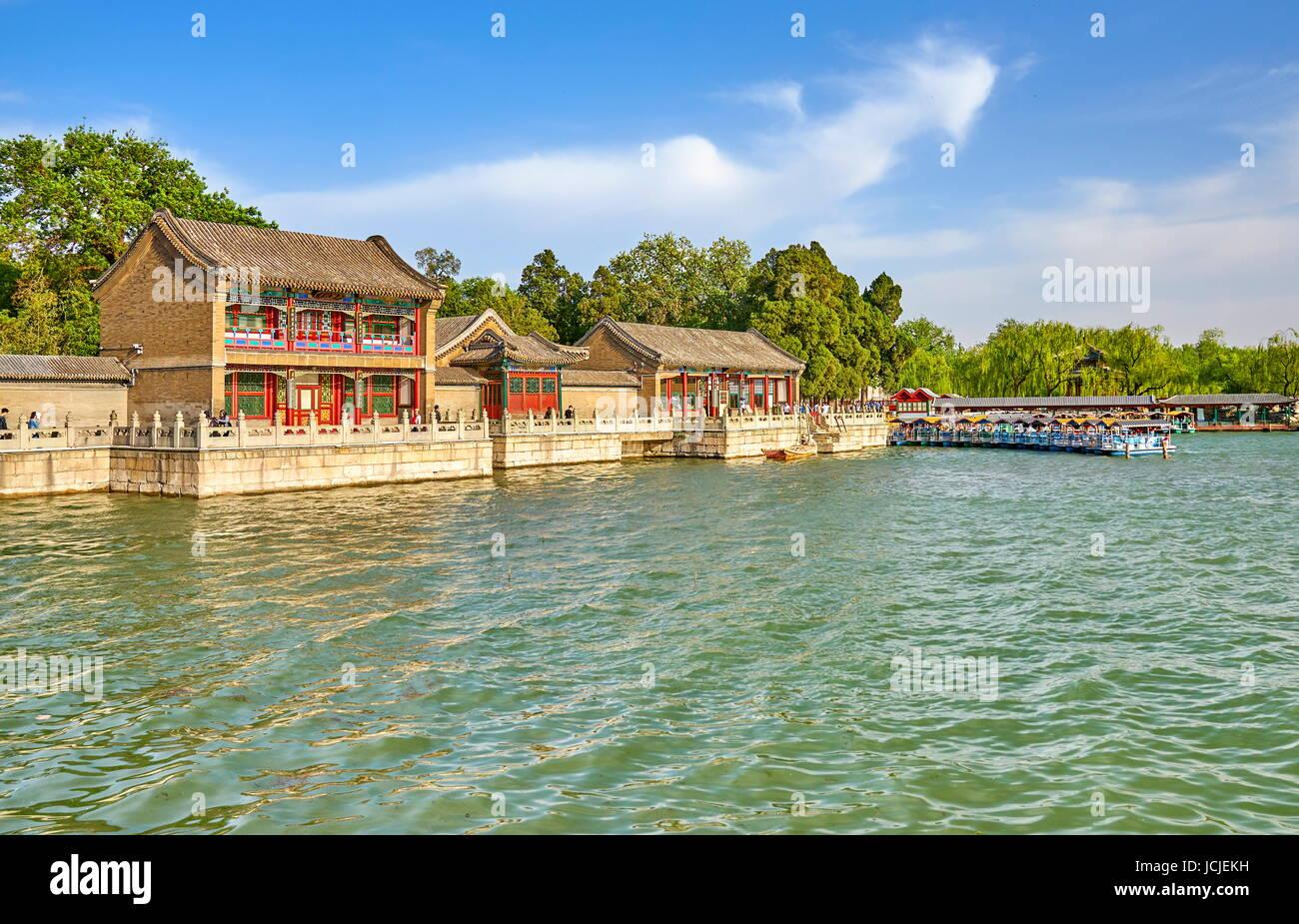 Lago Kunming vicino al Palazzo Estivo, Pechino, Cina Immagini Stock