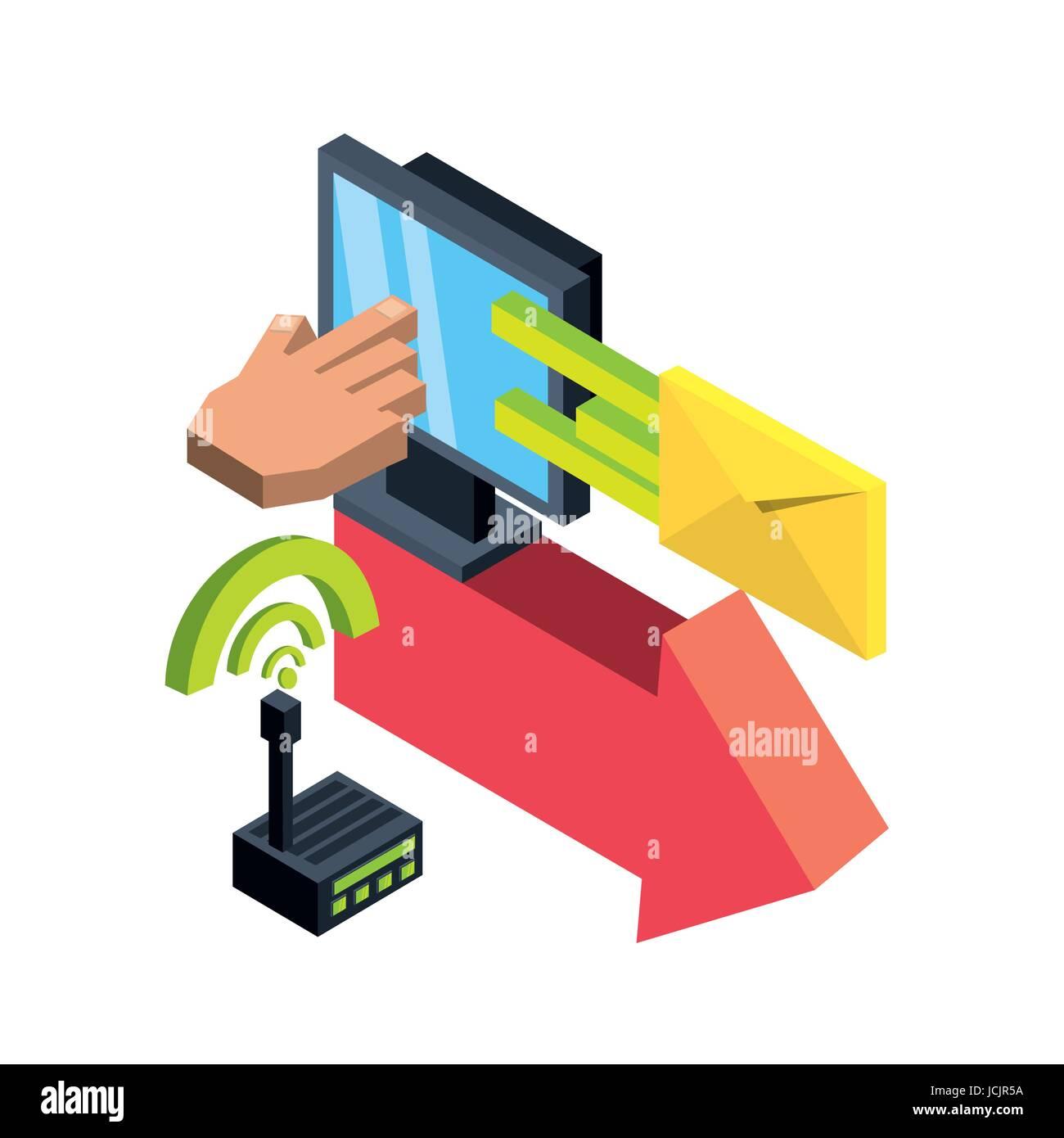 Isometrica, computer portatile con connessione wifi Immagini Stock