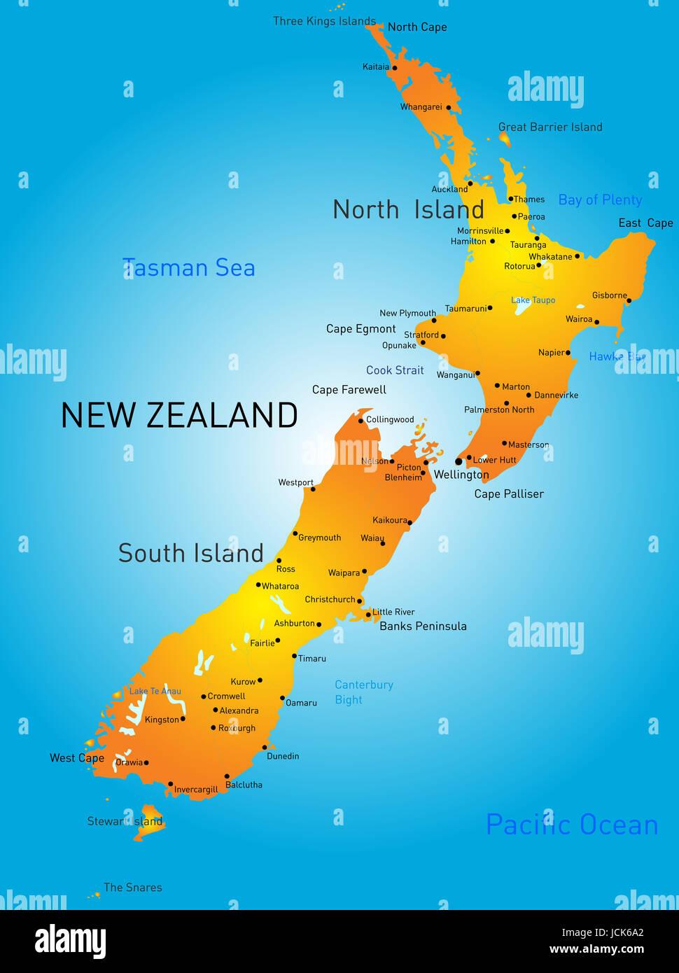 Cartina Geografica Della Nuova Zelanda.Vettore Mappa A Colori Della Nuova Zelanda Paese Foto Immagine