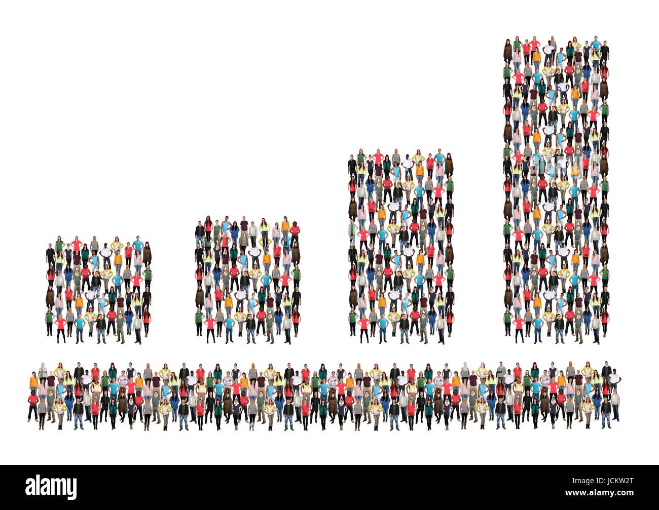 Grafico a barre dei grafici di business la crescita di profitto sulle vendite di gruppo di persone il successo crescente Immagini Stock