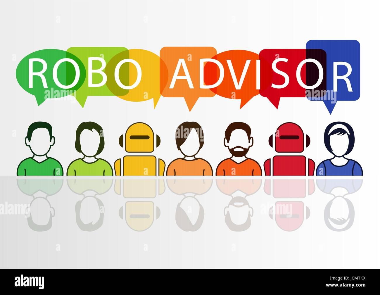 Robo-advisor concetto come illustrazione vettoriale con icone colorate di robot e persone Illustrazione Vettoriale