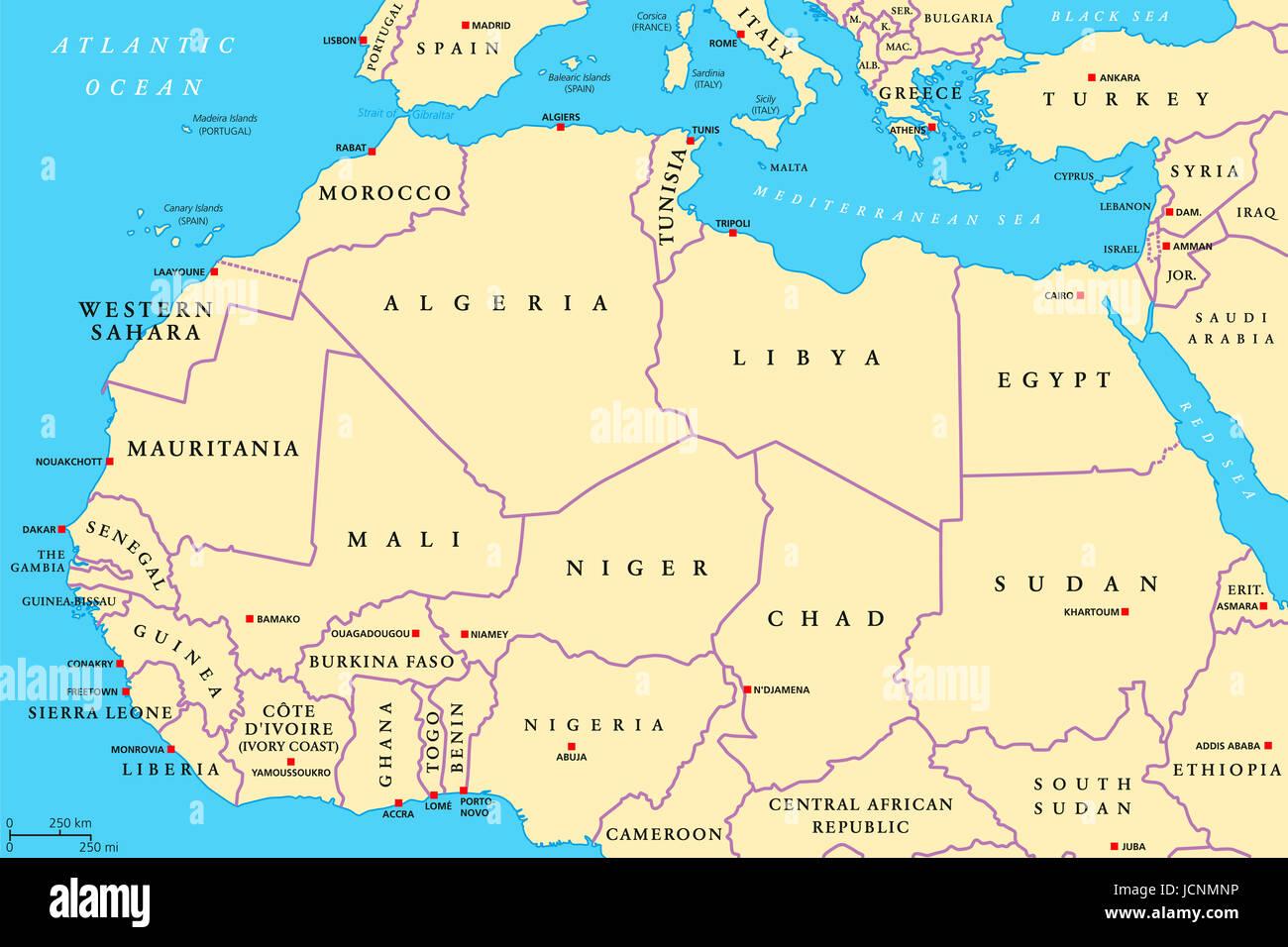 Cartina Italia E Nord Africa.Nord Africa Paesi Mappa Politico Con Capitelli E Frontiere