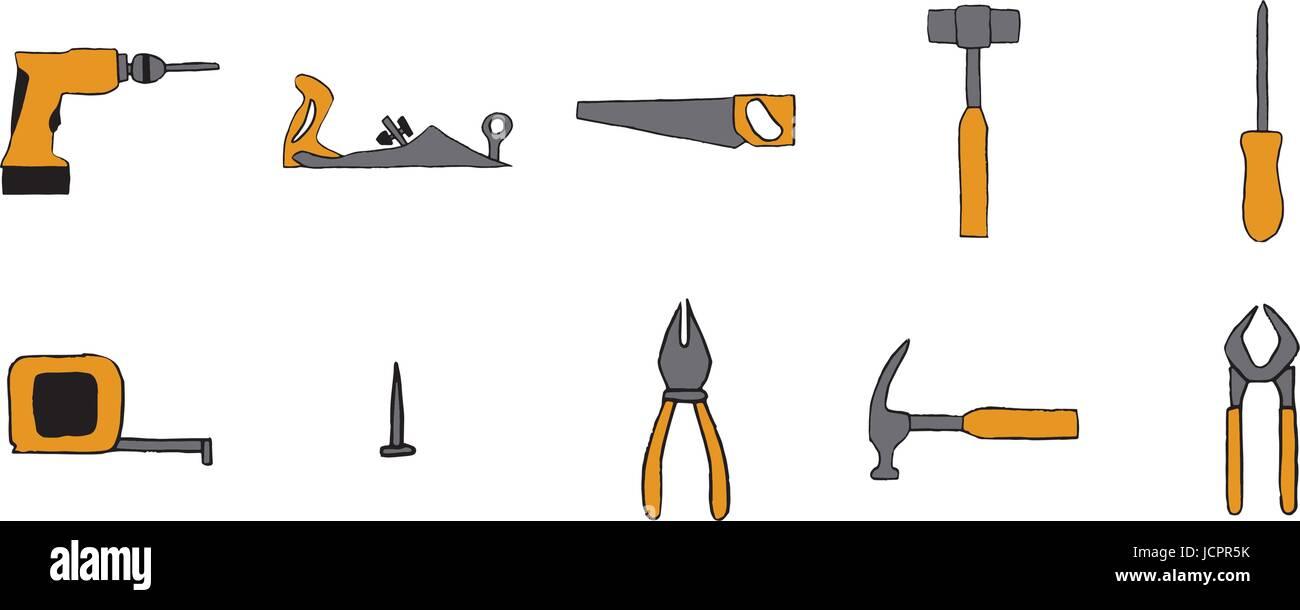 Vector Icon Set Di Attrezzi Di Falegnameria