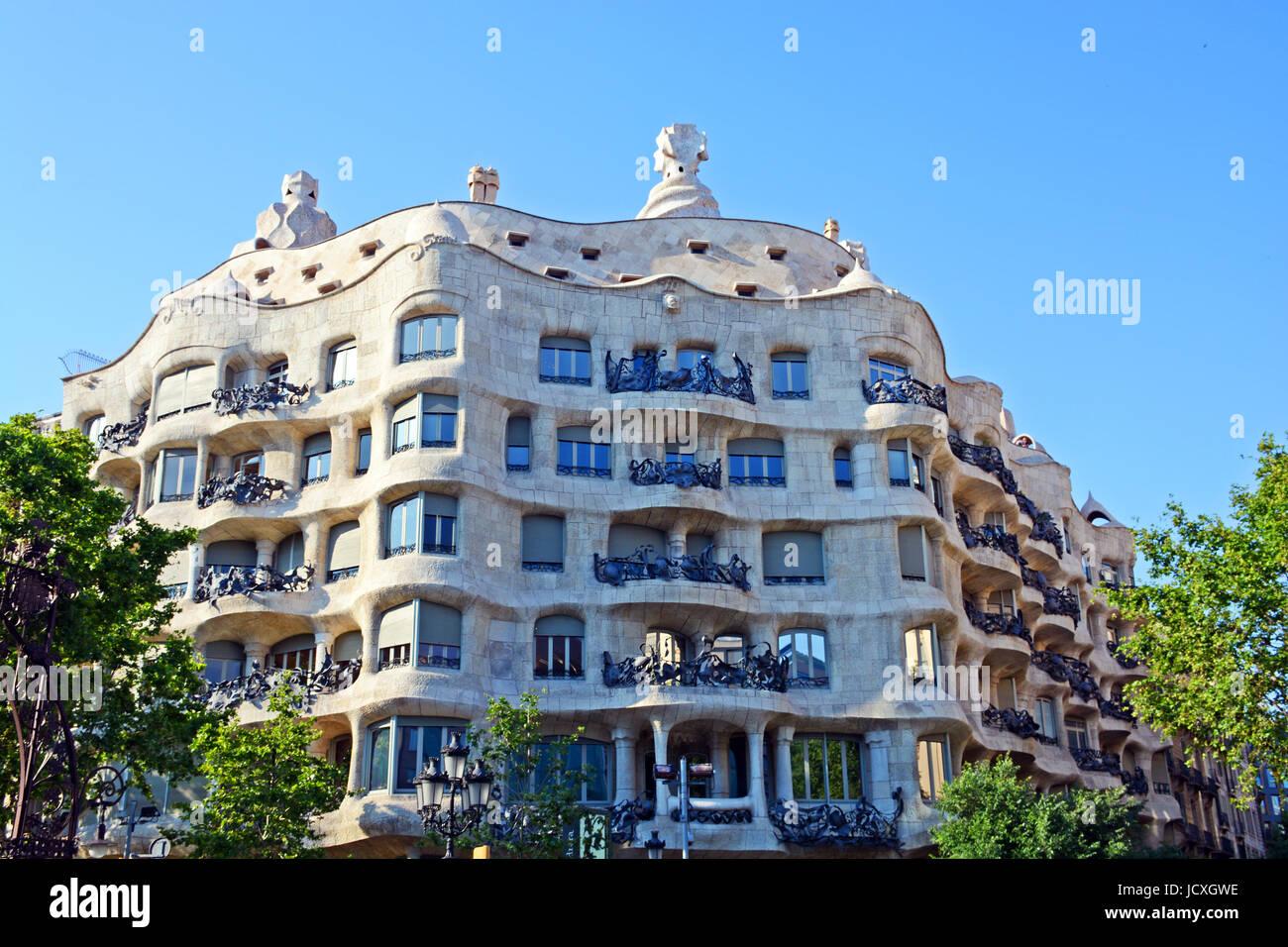 Casa Milà o La Pedrera, Barcellona, in Catalogna, Spagna Immagini Stock