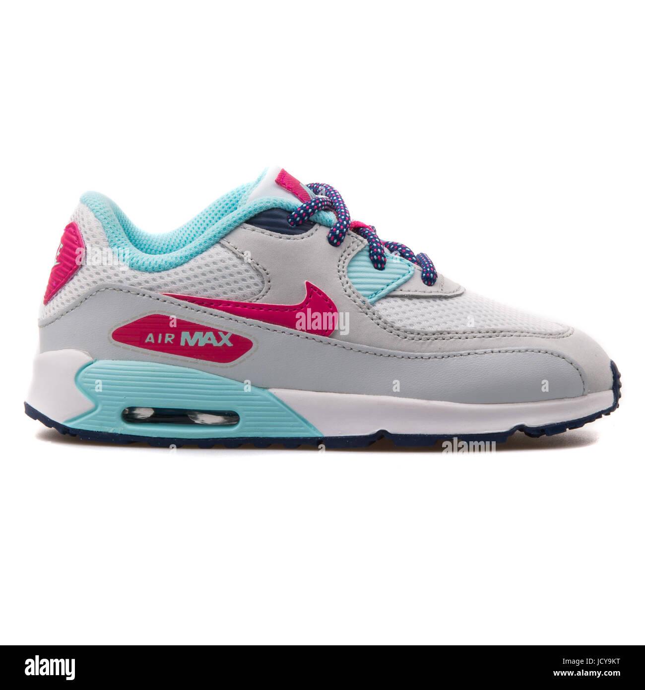 Nike Air Max 90 mesh (TD) bianco, grigio, rosa e turchese bimbo a ...