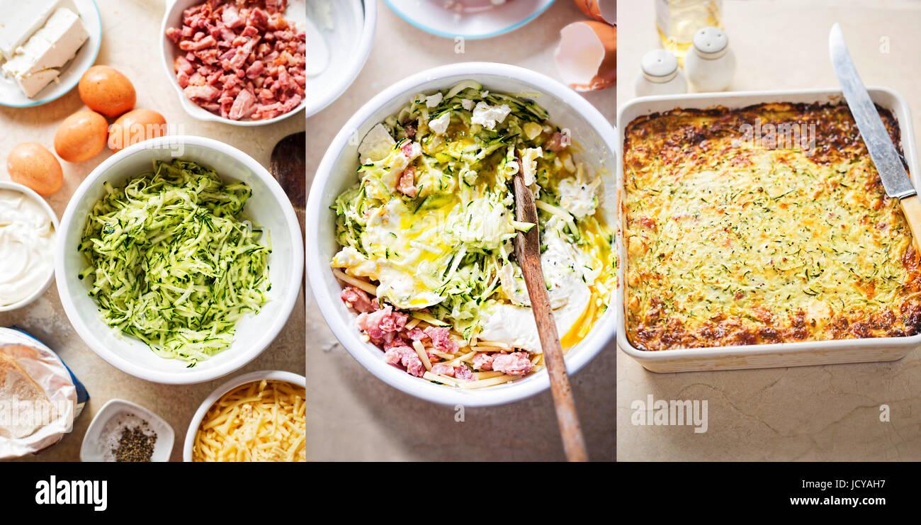 Zucchine Ortaggi cipolle Frittata pancetta ricetta step by step Immagini Stock