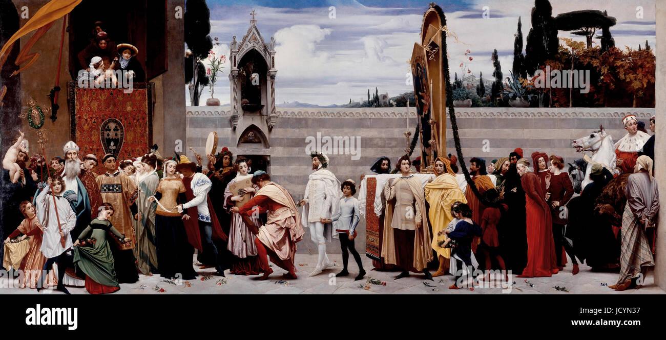 Frederic Leighton, Cimabue celebra la Madonna viene portata in processione per le strade di Firenze. 1853-1855 Olio Immagini Stock