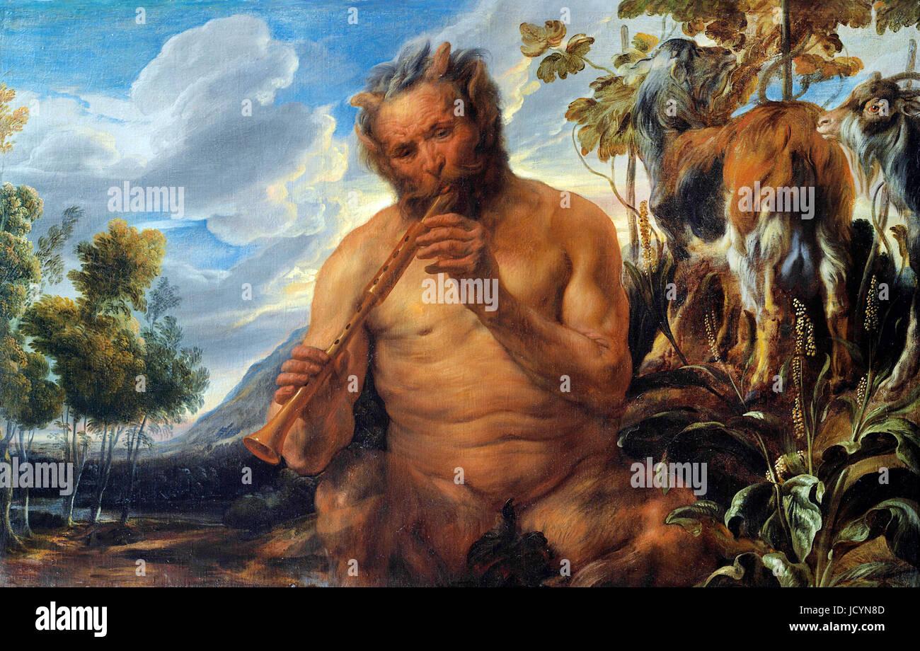 Jacob Jordaens, Satiro la riproduzione del tubo (Giove) Infanzia (frammento). Circa 1639. Olio su tela. Museo delle Immagini Stock