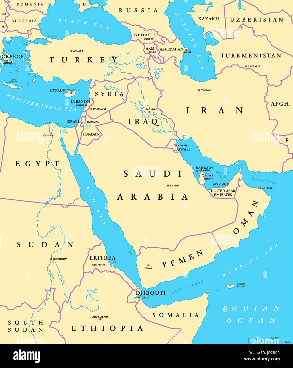 Asia Occidentale Cartina Politica.Medio Oriente Mappa Politico Con Capitelli E I Confini