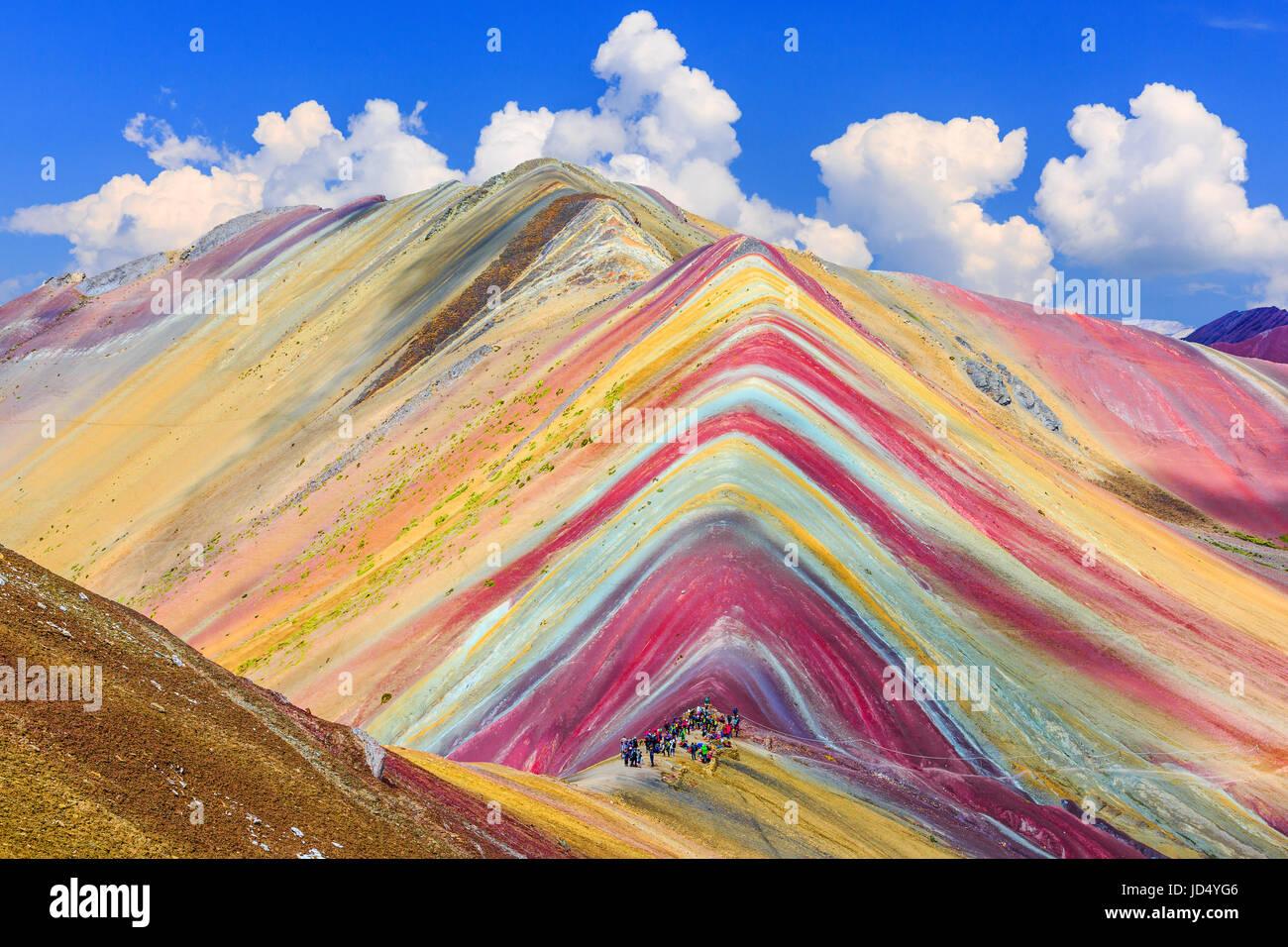 Vinicunca, regione di Cusco, Perù. Montana de Siete Colores, o Rainbow Mountain. Immagini Stock