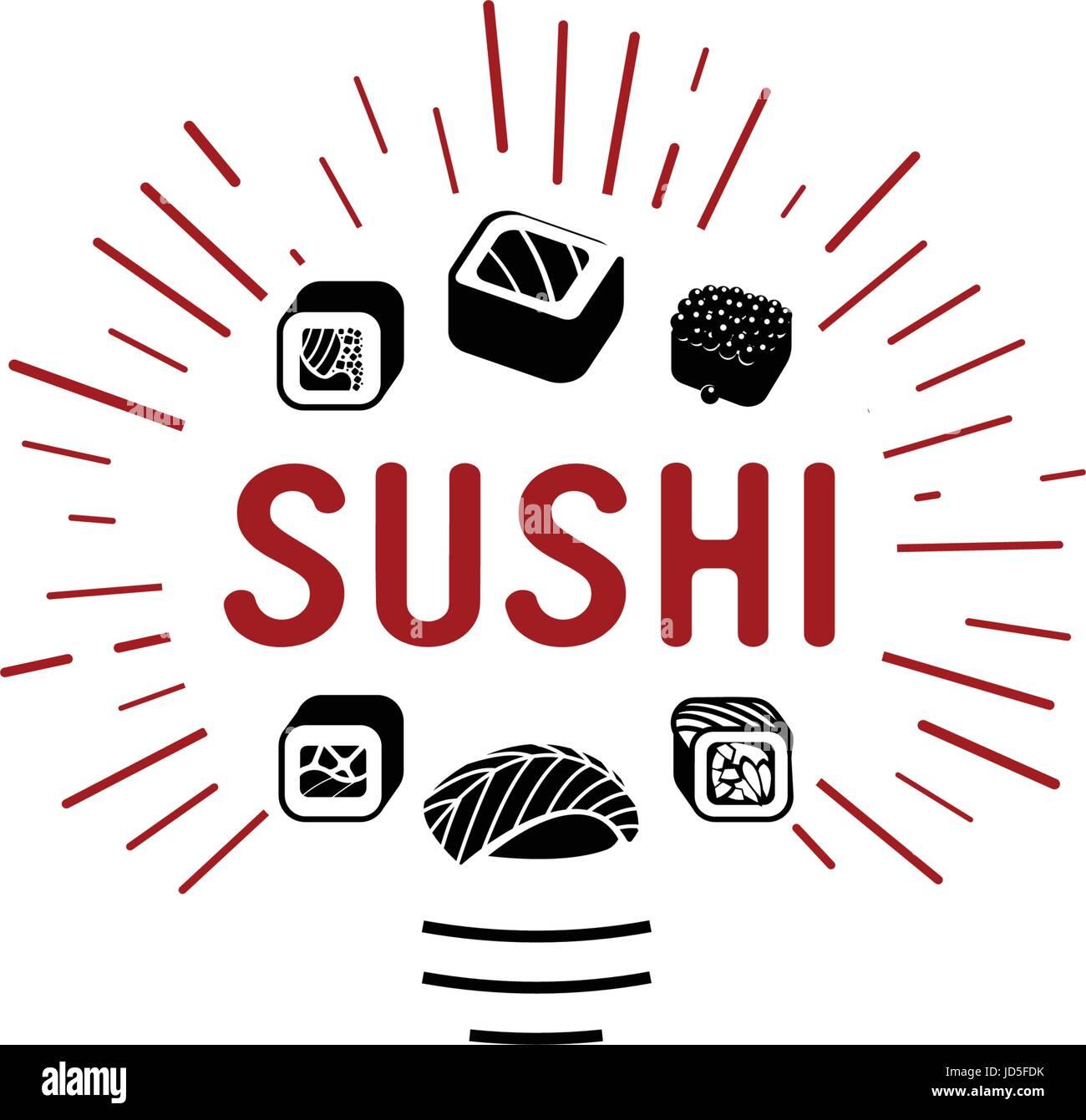 Il Logo Di Vettore Ed Emblema Per I Ristoranti Di Cucina Giapponese