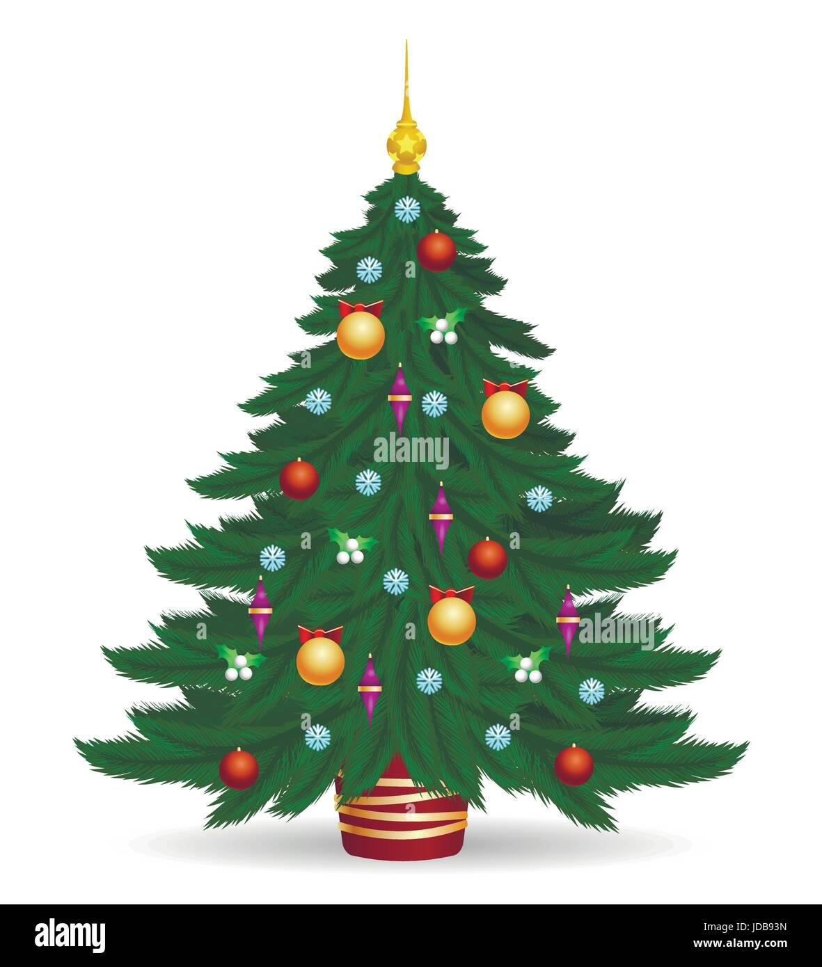 Immagini Di Natale Colorate.Albero Di Natale Illustrazione Vettoriale Decorate I