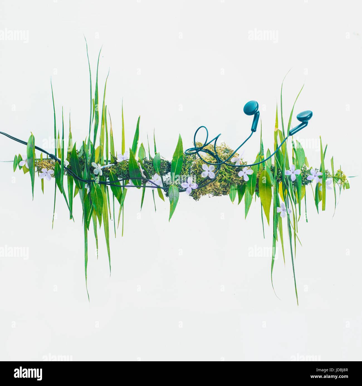 Foto concettuale con onda sonora fatta di grafica di foglie e di erba. Le cuffie con la musica della natura. Immagini Stock