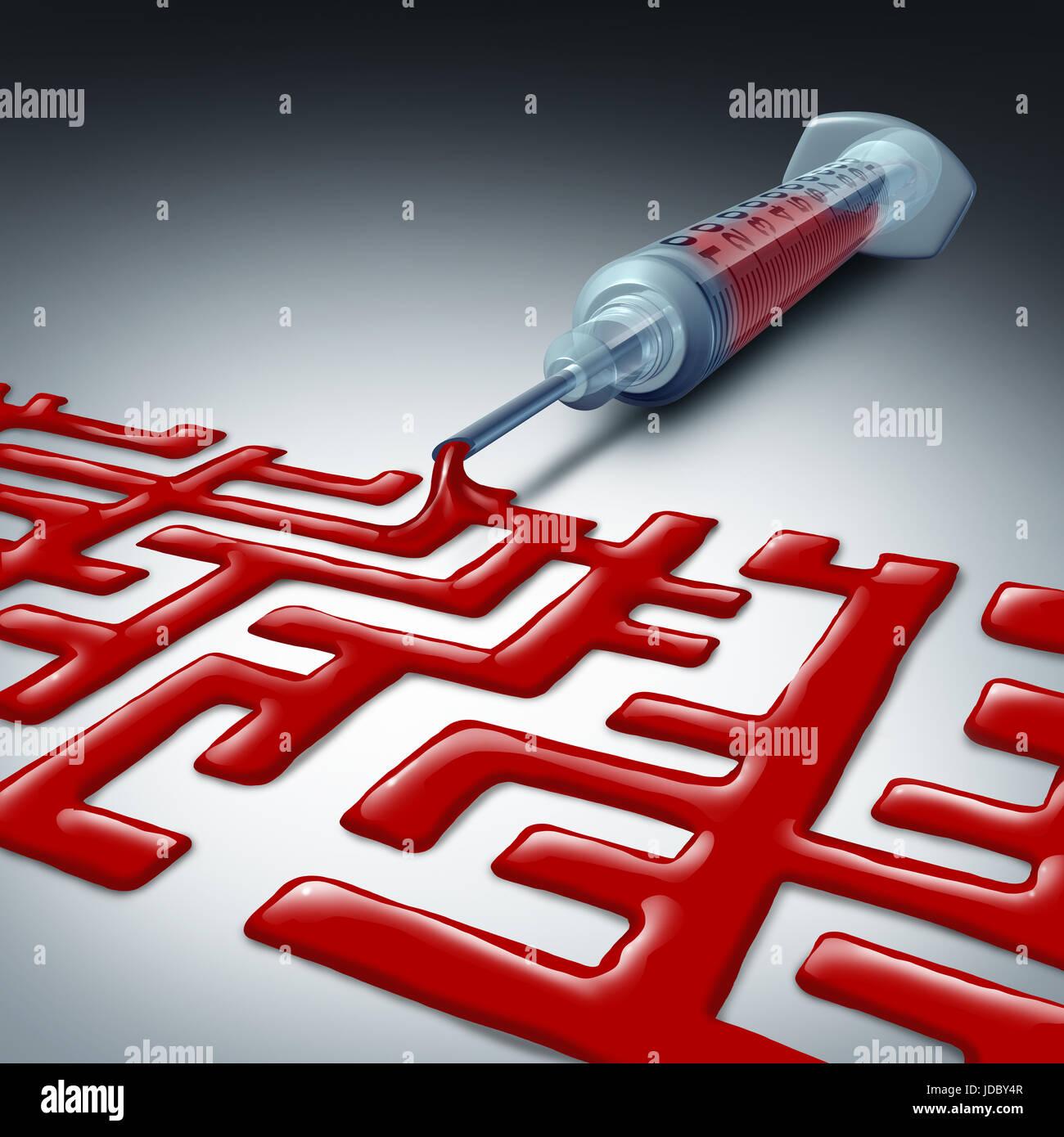 La navigazione di cura per la salute di labirinti o sfida sanitaria come una siringa con sangue rosso a forma di Immagini Stock