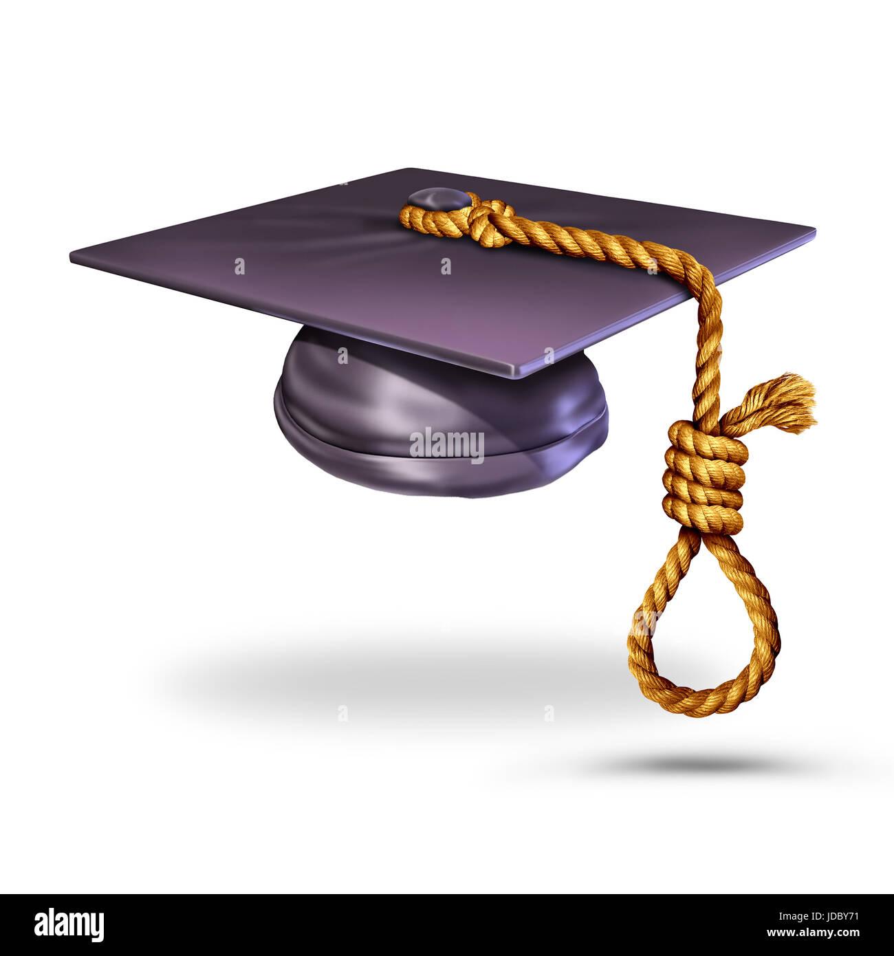 Istruzione il concetto di suicidio e imparare a prevenire i suicidi simbolo come un tappo di graduazione o malta Immagini Stock