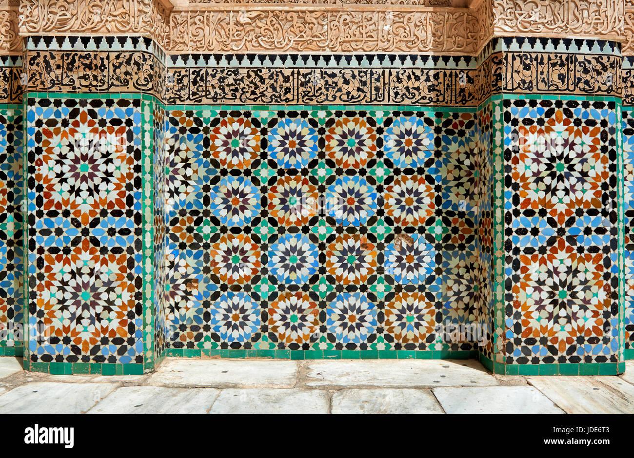 Piastrella pattern nella scuola islamica medersa ben youssef