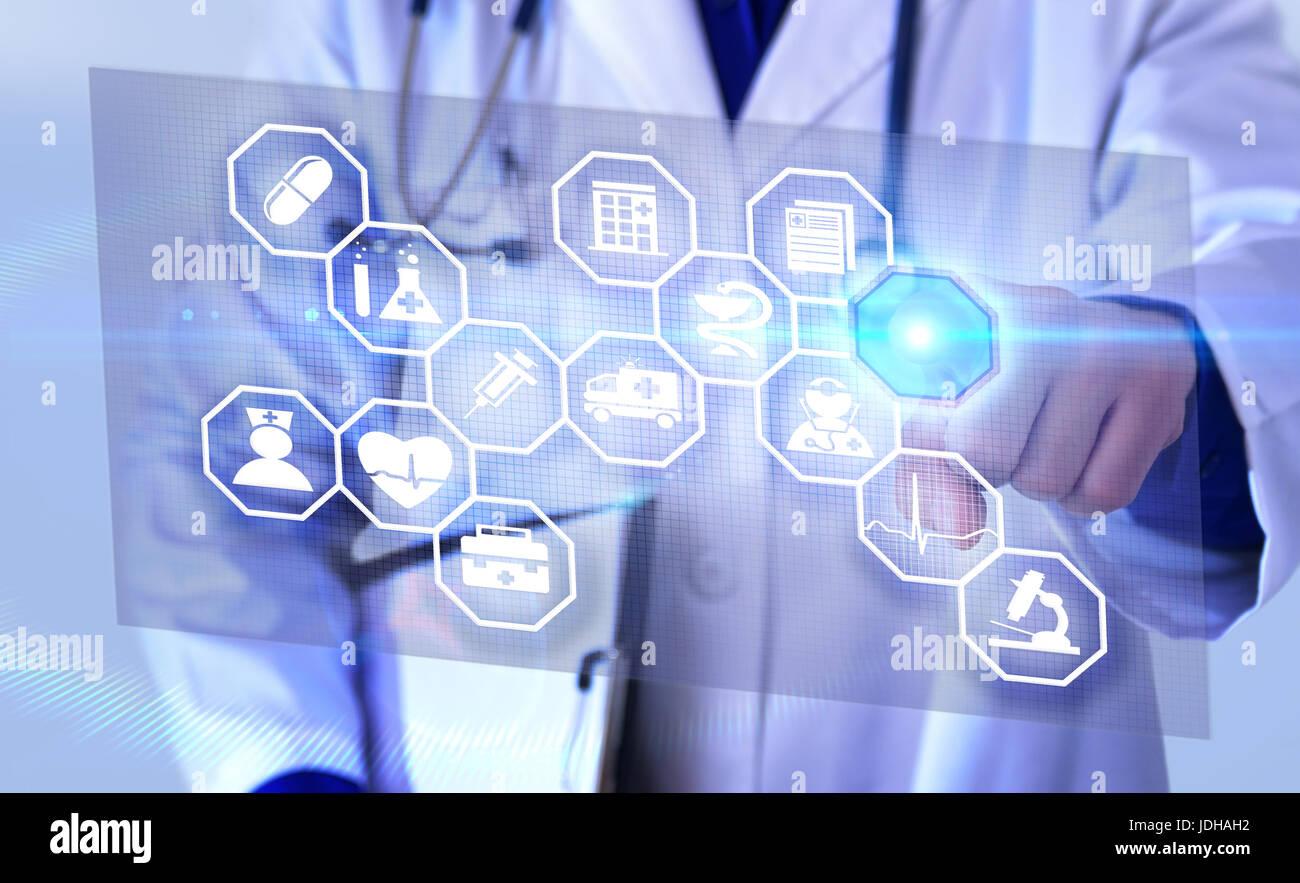 Rappresentazione di campi di comunicazione della medicina e della globalizzazione con medico picking rappresentazione Immagini Stock