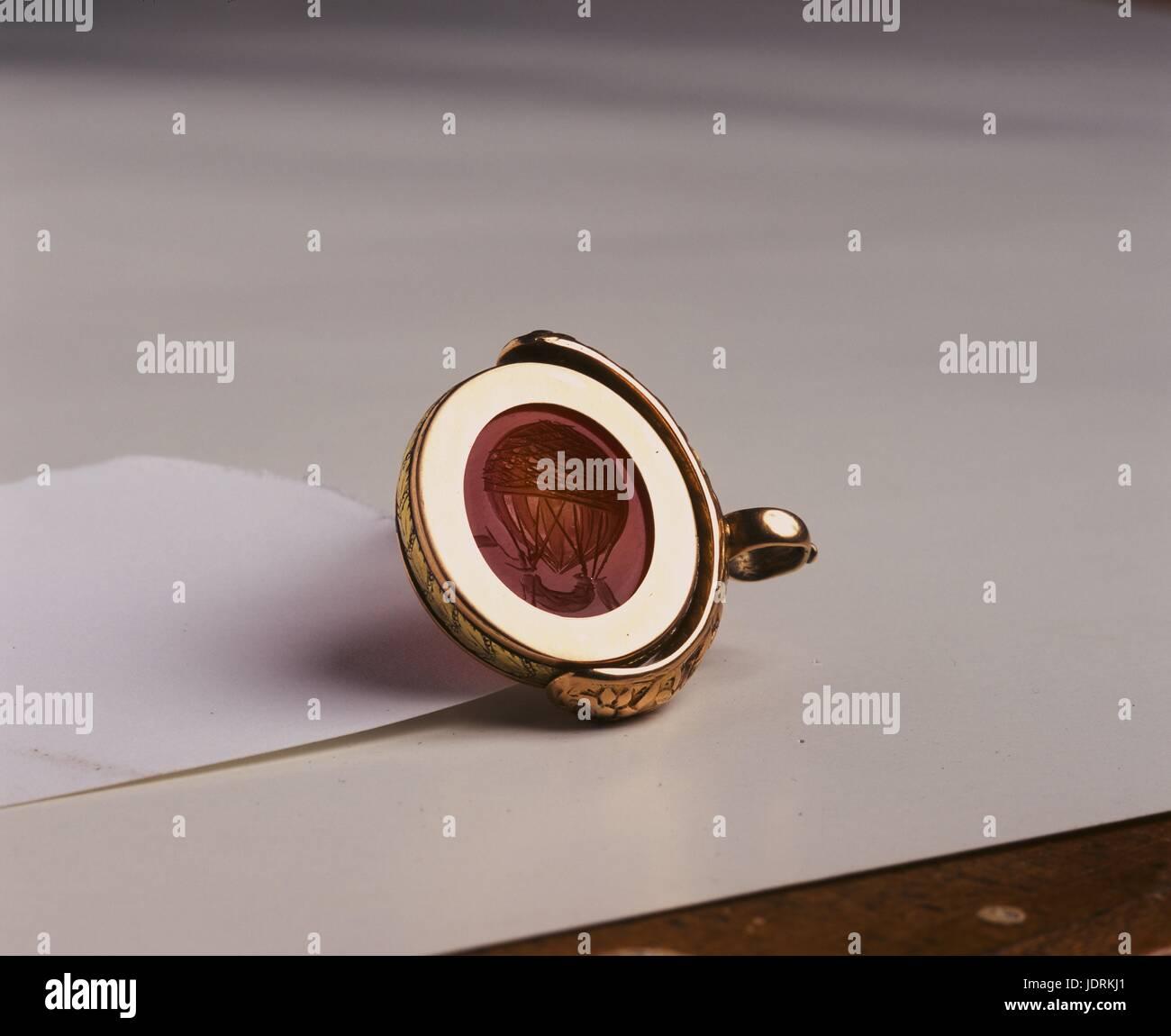Principe russo del sigillo con il design del palloncino di idrogeno inventata da Charles e Robert nel 1783. Oro Immagini Stock