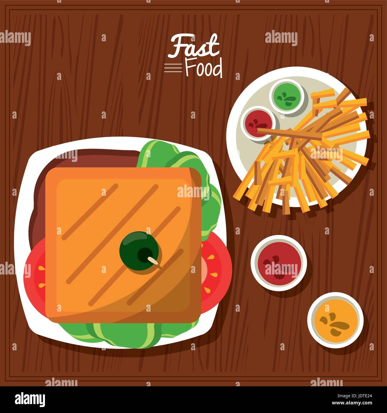 Poster fast food nel tavolo da cucina sfondo con sandwich e salse e ...
