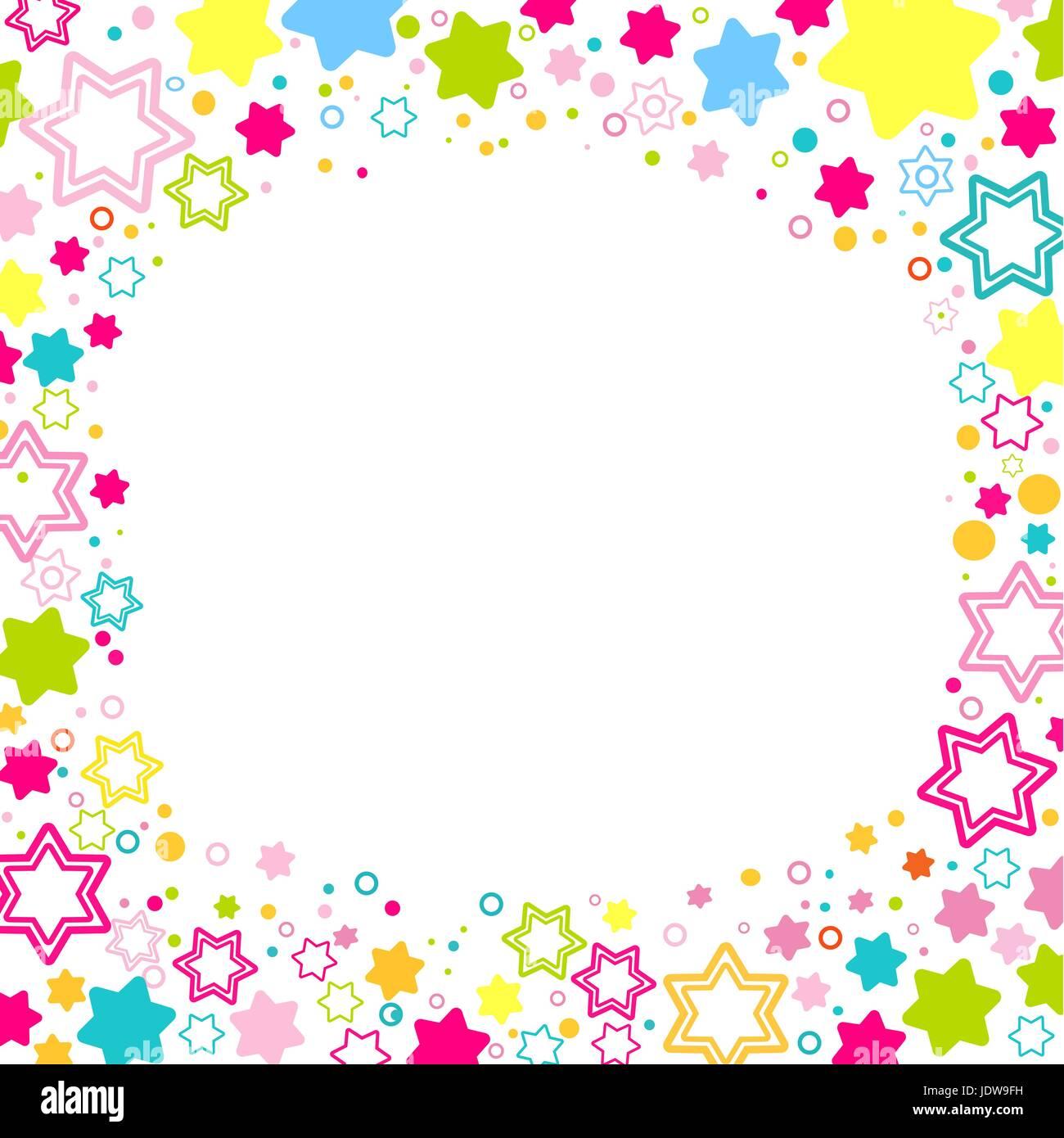 Vettore Telaio Quadrato Con Stelle Colorate Sullo Sfondo Bianco