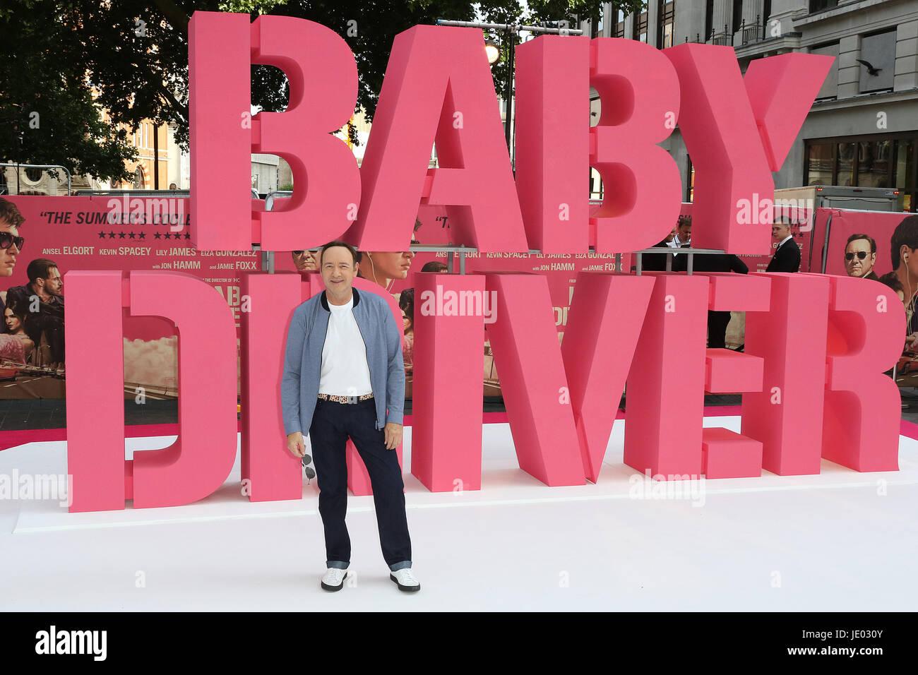 Londra, Regno Unito. Il 21 giugno, 2017. Kevin Spacey, Baby Driver - European film premiere, Leicester Square, Londra, Immagini Stock