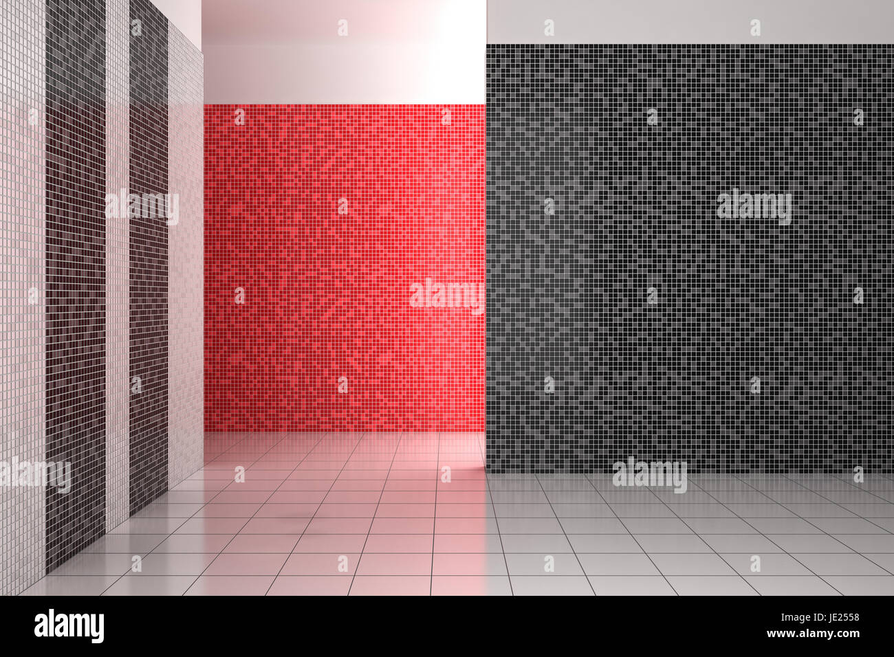Bagno Con Mosaico Nero : Vuoto moderno bagno con piastrelle a mosaico in bianco e nero e