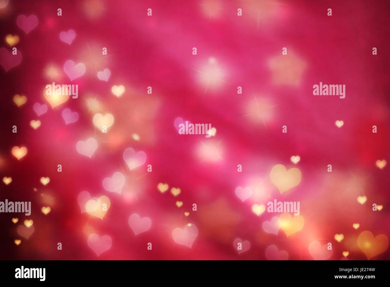 Golden Piccoli Cuoricini Rosa Su Sfondo Magenta Con Stelle Foto