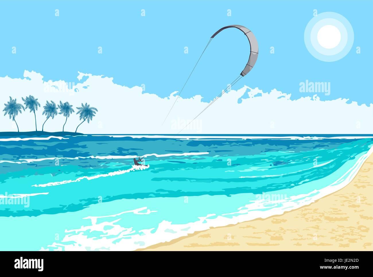 Il Kitesurfing Estate Di Sport Acquatici Sul Mare Tropicale Sfondo