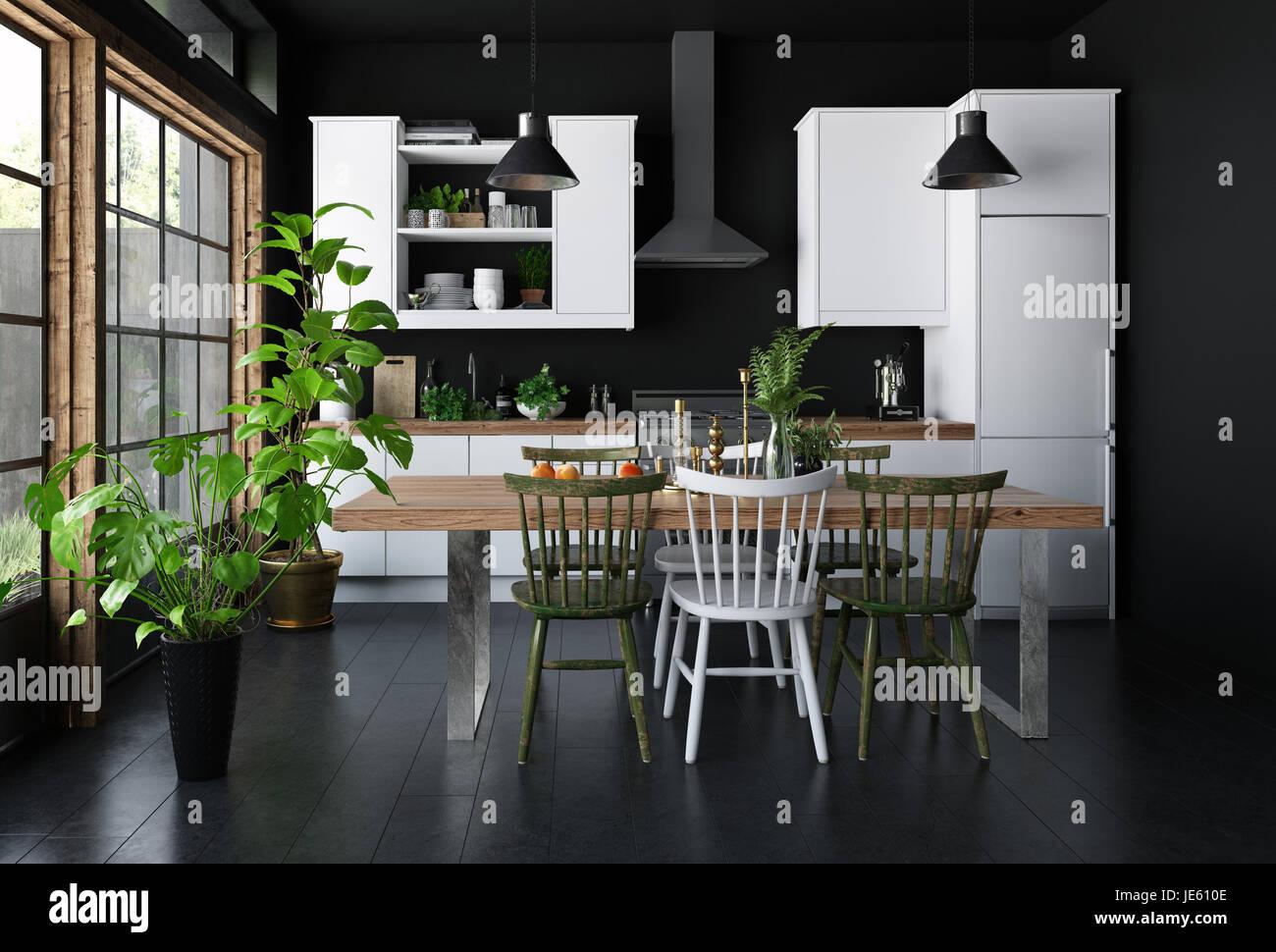 Arredamento Pavimento Scuro spaziosa cucina interno scuro concetto, con tavolo da pranzo