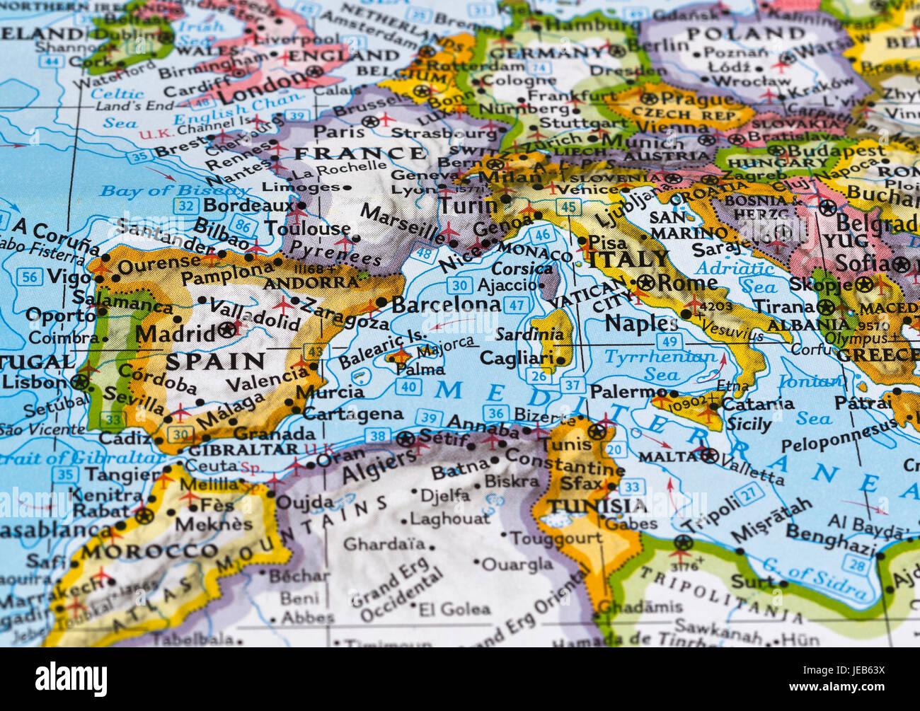 Cartina Francia Sud Dettagliata.Mappa Dettagliata Dell Europa Meridionale Foto Stock Alamy