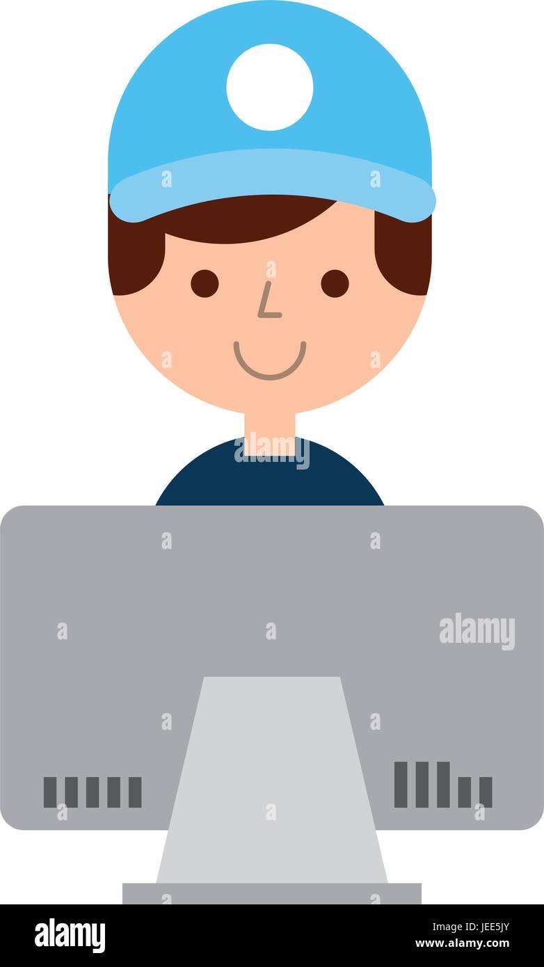 Lavoratore di consegna con computer carattere avatar Immagini Stock