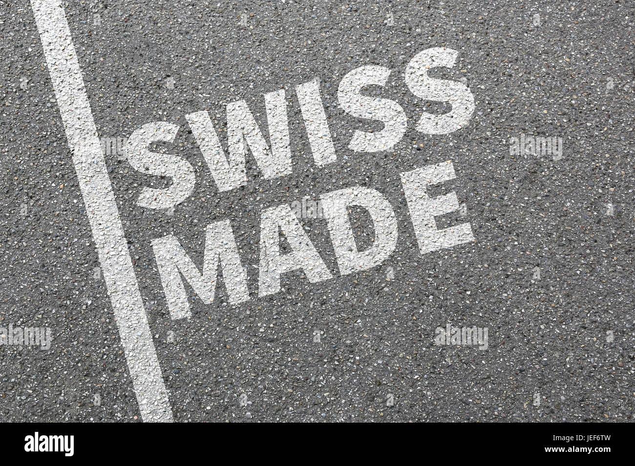 Swiss made product marketing di qualità azienda concept Immagini Stock