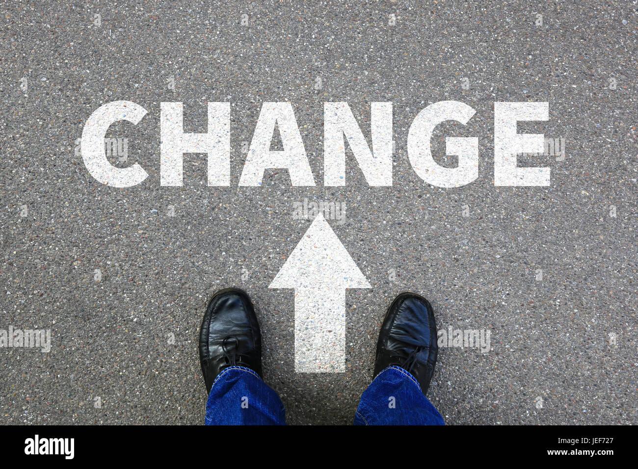 Modificare cambiando lavoro lavoro la tua vita cambia la concezione di business vision Immagini Stock