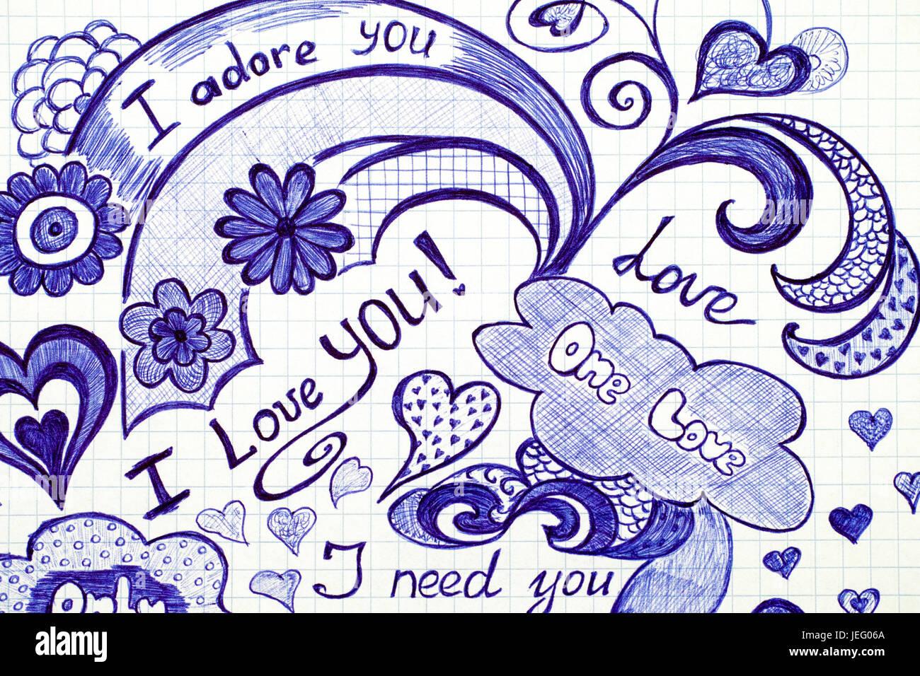 Disegnata a mano amore scarabocchi i messaggi sulla carta a scacchi. Foto Stock