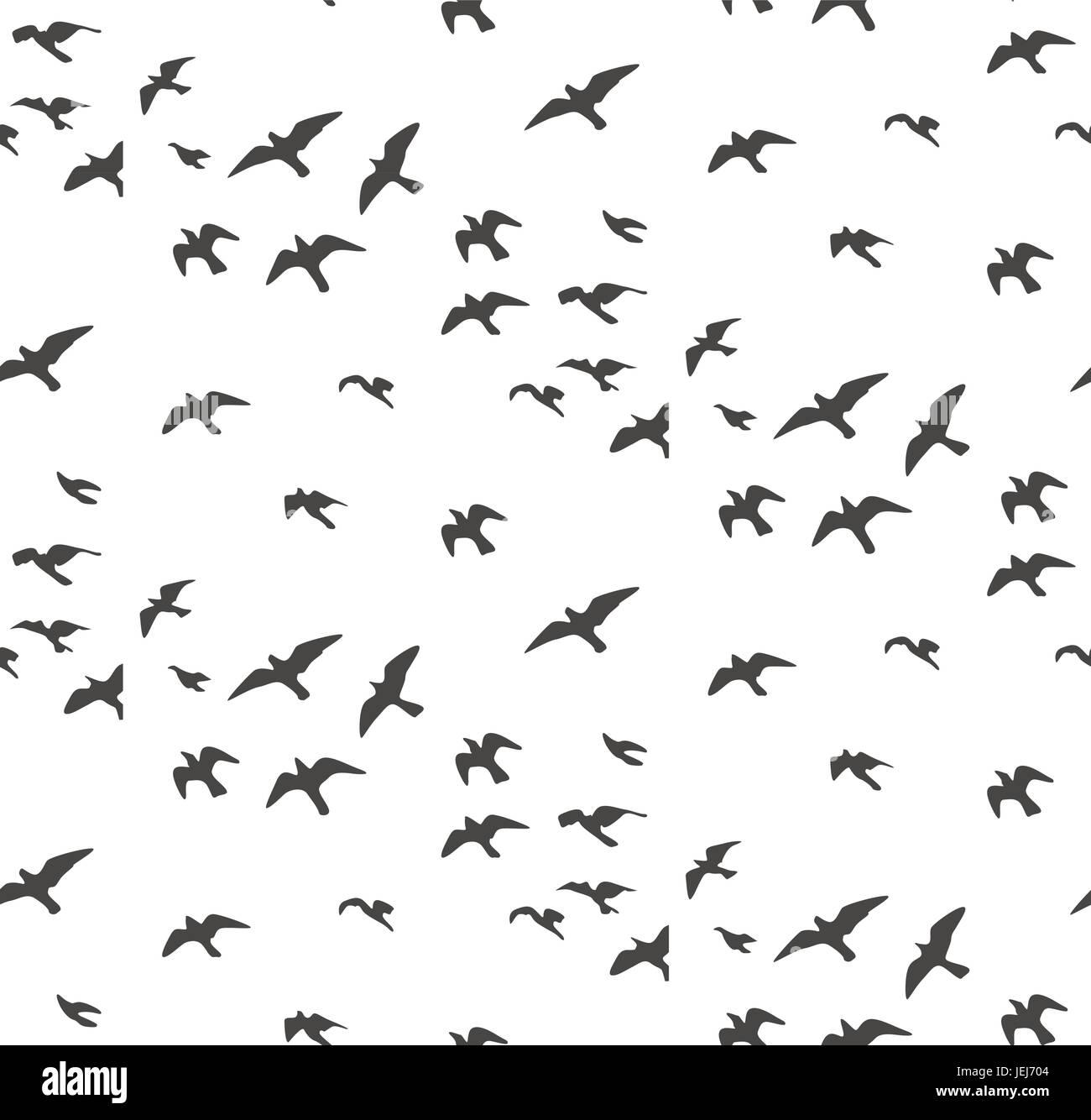 Gabbiani Sagome Seamless Pattern Stormo Di Uccelli In Volo
