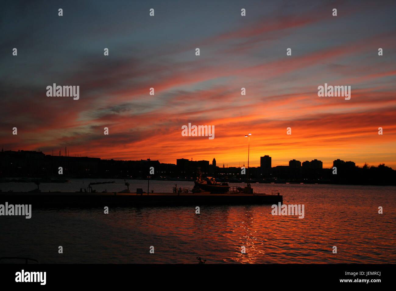 Tramonto a Helsinki - Finlandia Foto Stock