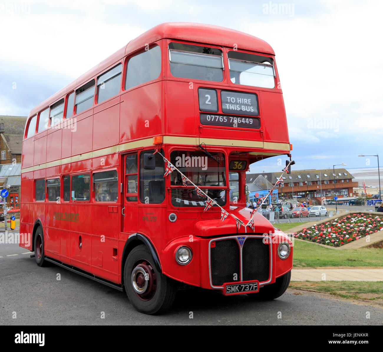 Vintage, rosso, Londra Trasporto bus, Hunstanton, Norfolk, Inghilterra, Regno Unito, attrazione turistica Immagini Stock