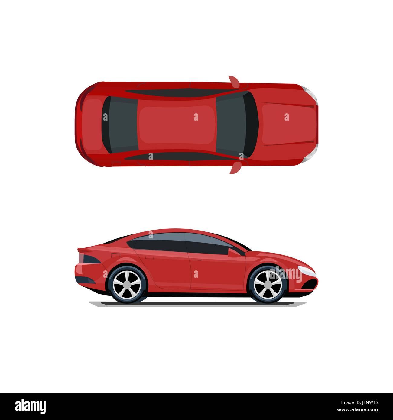 Auto Rossa Vista Dall Alto E Di Lato Disegno Volumetrico Senza Una Maglia E Un Gradiente Isolato Su Sfondo Bianco Illustrazione Immagine E Vettoriale Alamy