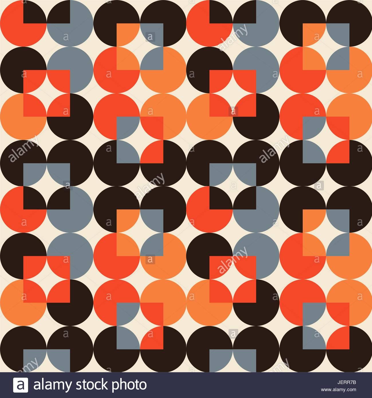 Anni 70 Colori in stile anni settanta modello geometrico con cerchi in